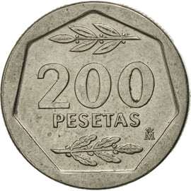 Coin, Spain, Juan Carlos I, 200 Pesetas, 1986, VF(30-35), Copper-nickel, KM:829