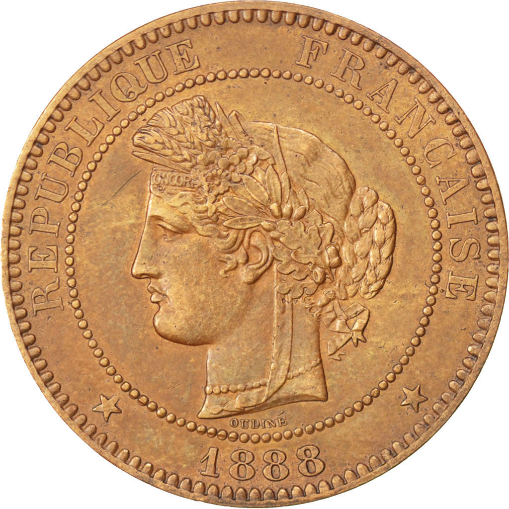 FRANCE, Cérès, 10 Centimes, 1888, Paris, KM #815.1, AU(50-53), Bronze, Gadoury #