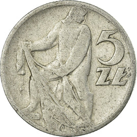Coin, Poland, 5 Zlotych, 1959, Warsaw, VF(20-25), Aluminum, KM:47