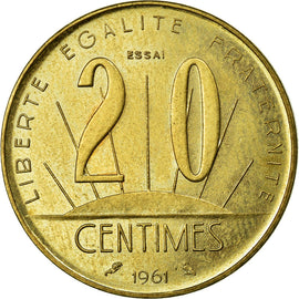 Coin, France, 20 Centimes, 1961, MS(65-70), Bronze-Aluminium, Gadoury:331