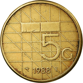Coin, Netherlands, Beatrix, 5 Gulden, 1988, EF(40-45), Bronze Clad Nickel