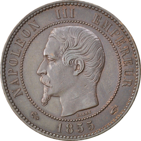 FRANCE, Napoléon III, 10 Centimes, 1855, Paris, KM #771.1, AU(50-53), Bronze, G.