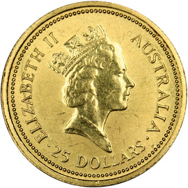 AUSTRALIA, 25 Dollars, 1987, Perth, KM #90, MS(60-62), Gold, 7.75