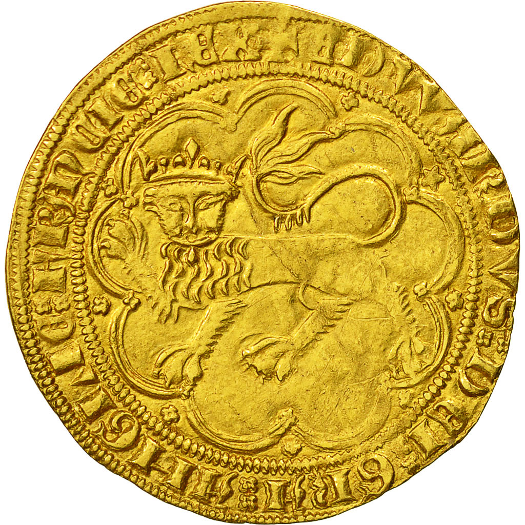 Coin, France, Aquitaine, Edward III, Léopard d'or, 1357, Bordeaux, AU(55-58)