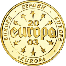 France, Medal, L'Europe, 500 Sakala, Estonie, 2003, MS(63), Copper Gilt