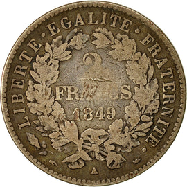 Coin, France, Cérès, 2 Francs, 1849, Paris, VF(20-25), Silver, KM:760.1