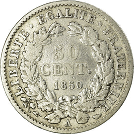 Coin, France, Cérès, 50 Centimes, 1850, Paris, VF(30-35), Silver, KM:769.1