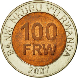 Coin, Rwanda, 100 Francs, 2007, British Royal Mint, EF(40-45), Bi-Metallic