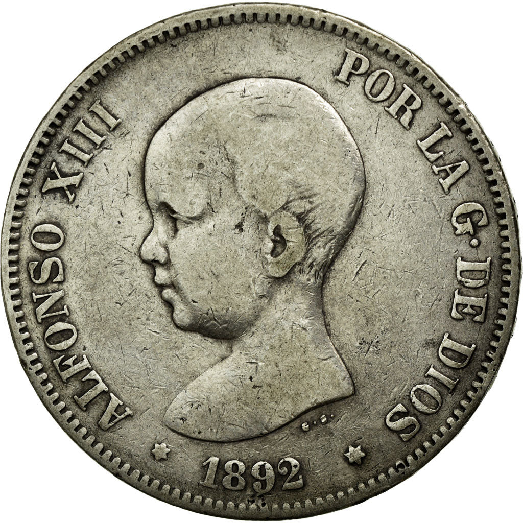 Coin, Spain, Alfonso XIII, 5 Pesetas, 1892, EF(40-45), Silver, KM:689