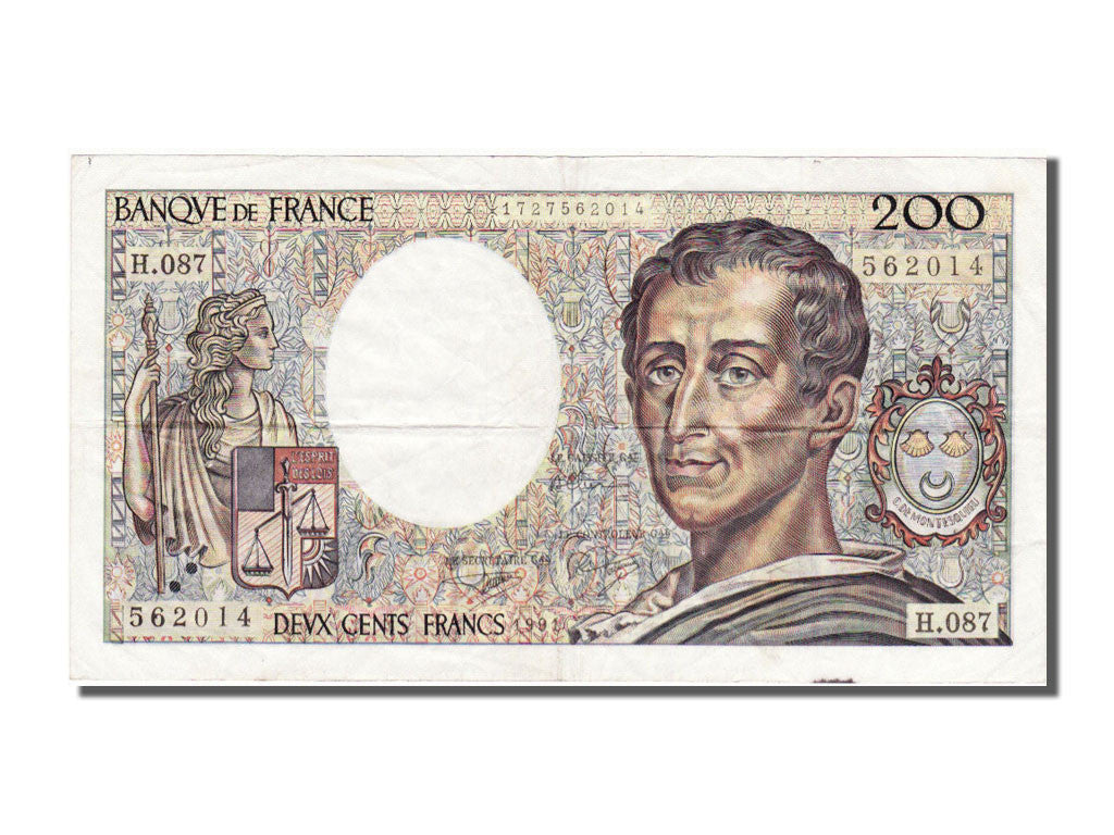 France, 200 Francs, 200 F 1981-1994 ''Montesquieu'', 1991, KM #155d, AU(50-53),.