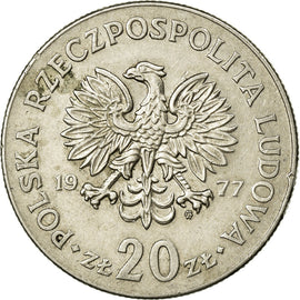 Coin, Poland, 20 Zlotych, 1977, AU(50-53), Copper-nickel, KM:69