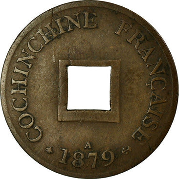 Coin, FRENCH COCHIN CHINA, 2 Sapeque, 1879, Paris, EF(40-45), Bronze, Lecompte:9