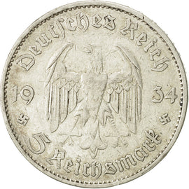 Coin, GERMANY, THIRD REICH, 5 Reichsmark, 1934, Berlin, EF(40-45), Silver, KM:82