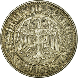 Coin, GERMANY, WEIMAR REPUBLIC, 5 Reichsmark, 1927, Berlin, AU(55-58), Silver