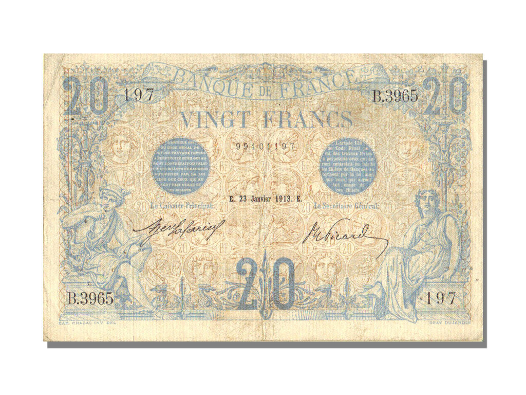 France, 20 Francs, 20 F 1905-1913 ''Bleu'', 1913, KM #68b, 1913-01-23,...