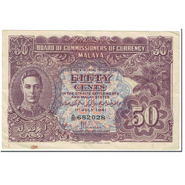 Banknote, MALAYA, 50 Cents, 1945, Old Date : 1.7.1941 (1945)., KM:10b, EF(40-45)