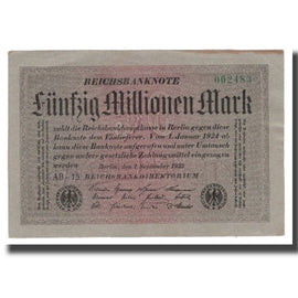 Banknote, Germany, 50 Millionen Mark, 1923, 1923-09-01, KM:109a, AU(50-53)