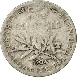 Coin, France, Semeuse, 50 Centimes, 1904, Paris, VF(20-25), Silver, KM:854