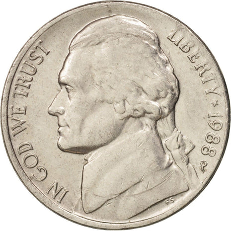 Coin, United States, Jefferson Nickel, 5 Cents, 1988, U.S. Mint, Philadelphia
