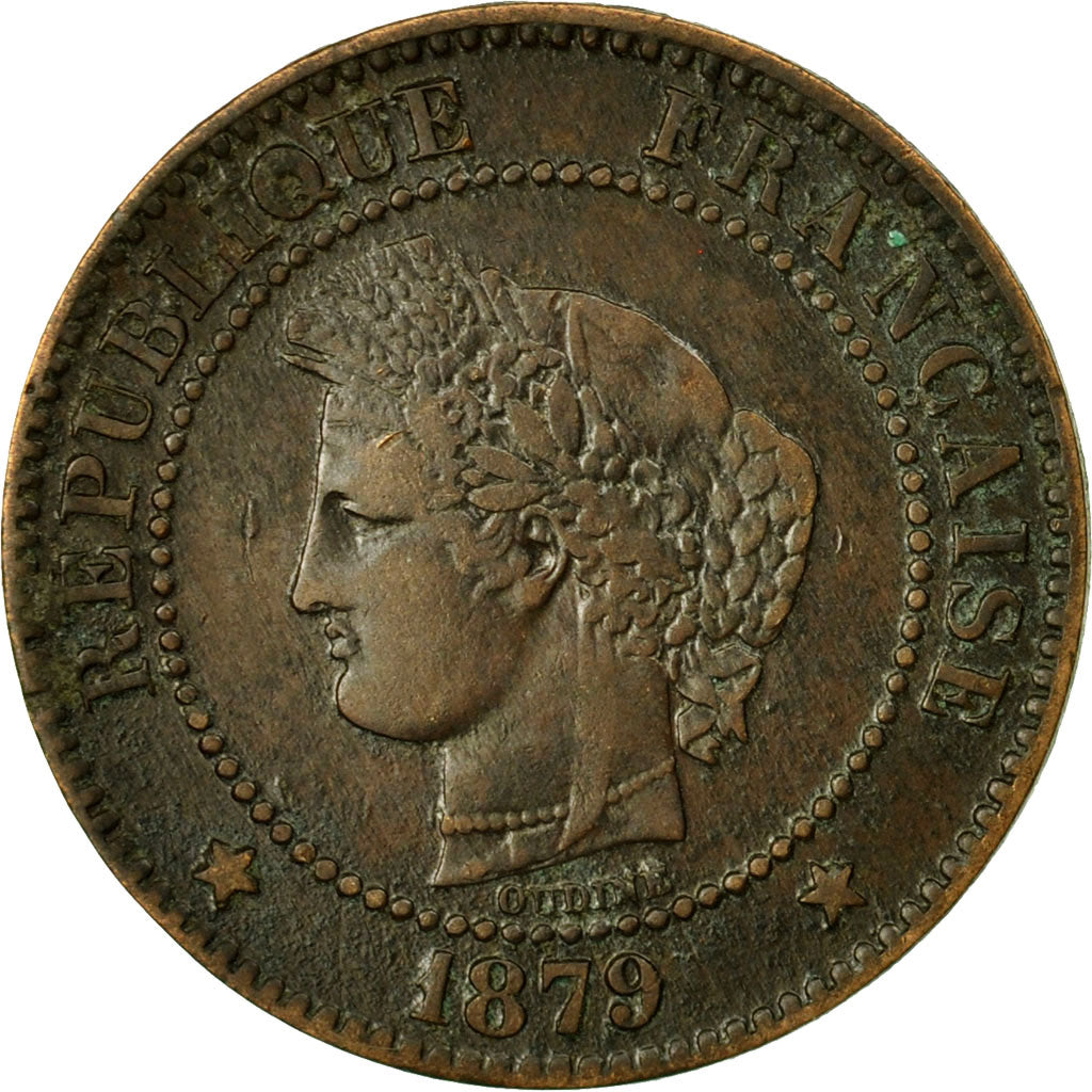 Coin, France, Cérès, 2 Centimes, 1879, Paris, EF(40-45), Bronze, KM:827.1, Le
