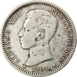 Coin, Spain, Alfonso XIII, Peseta, 1904, EF(40-45), Silver, KM:721