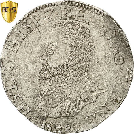 Coin, Spanish Netherlands, TOURNAI, Philip II, FILIPSDAALDER, 1589, Tournai