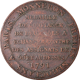 Coin, France, 2 Sols, 1791, VF(30-35), Bronze, KM:Tn23, Brandon:217