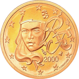 France, 2 Euro Cent, 2000, Proof, MS(65-70), Copper Plated Steel, KM:1283