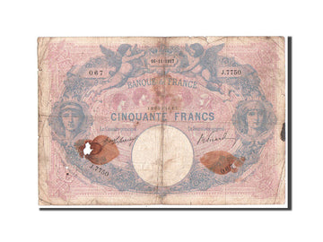 France, 50 Francs Bleu et Rose, 16.11.1917, KM:64e