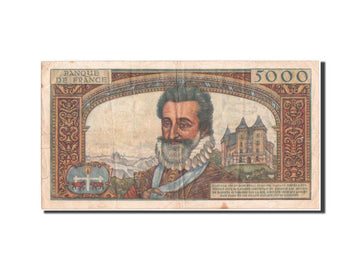 France, 5000 Francs, ''Henri IV'', 1958, KM:135a, 6.3.1958