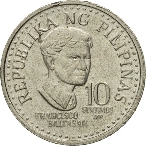 Coin, Philippines, 10 Sentimos, 1982, EF(40-45), Copper-nickel, KM:226