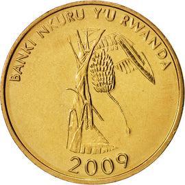 Coin, Rwanda, 10 Francs, 2009, MS(63), Brass plated steel, KM:24