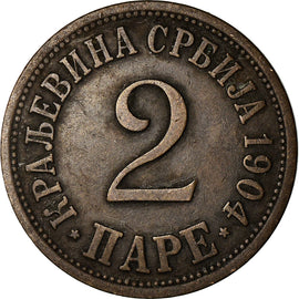Coin, Serbia, Peter I, 2 Pare, 1904, EF(40-45), Bronze, KM:23