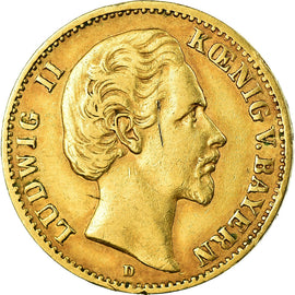Coin, German States, BAVARIA, Ludwig II, 10 Mark, 1874, Munich, EF(40-45), Gold
