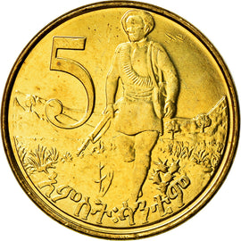 Coin, Ethiopia, 5 Cents, 2004, MS(63), Brass plated steel, KM:44.3