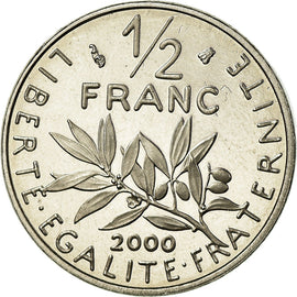 Coin, France, Semeuse, 1/2 Franc, 2000, BE, MS(65-70), Nickel, KM:931.2