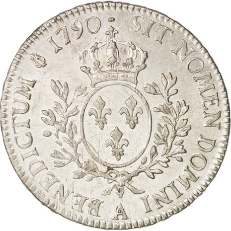 France, Louis XVI, Écu aux branches d'olivier, 1790, Paris, AU(50-53), KM 564.1