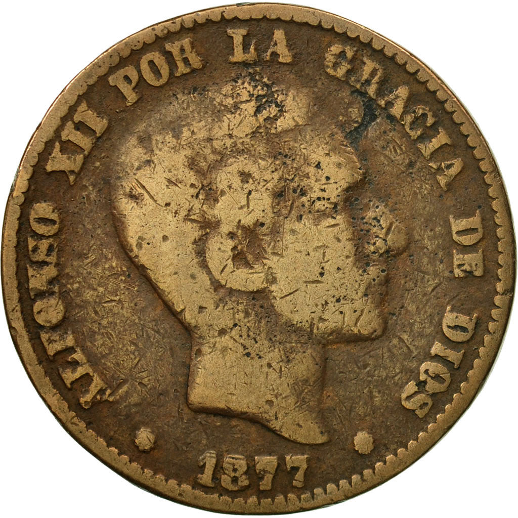 Coin, Spain, Alfonso XII, 10 Centimos, 1877, Madrid, VF(20-25), Bronze, KM:675
