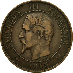 Coin, France, 10 Centimes, 1853, Lille, EF(40-45), Bronze, KM:M24, Gadoury:249