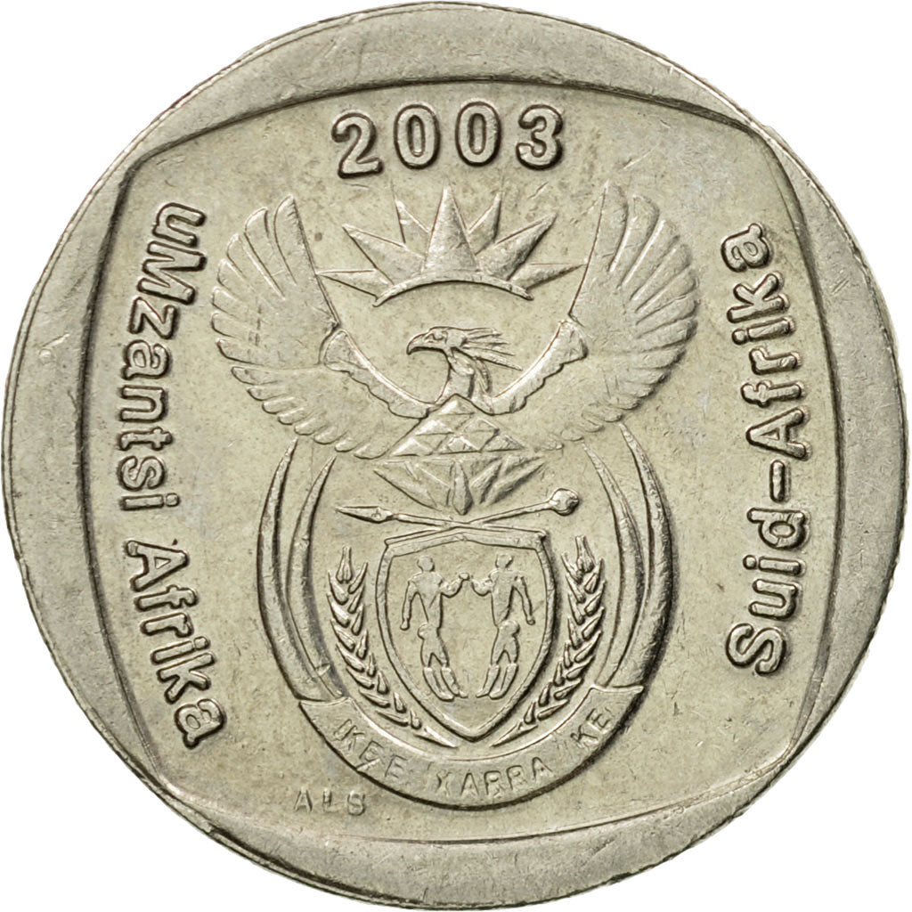 South Africa 2005-1 Rand Nickel Plated Copper Coin Springbok and value