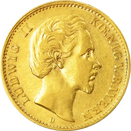 Coin, German States, BAVARIA, Ludwig II, 10 Mark, 1875, Munich, EF(40-45), Gold