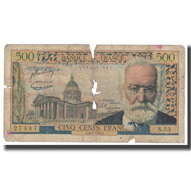 France, 5 Nouveaux Francs on 500 Francs, Victor Hugo, 1955, 1955-01-06