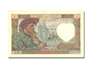 Banknote, France, 50 Francs, 50 F 1940-1942 ''Jacques Coeur'', 1941, 1941-01-23