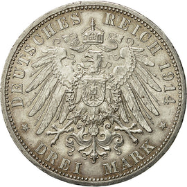 Coin, German States, ANHALT-DESSAU, Friedrich II, 3 Mark, 1914, Berlin