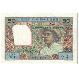Banknote, Madagascar, 50 Francs = 10 Ariary, 1969, Undated (1969), KM:61
