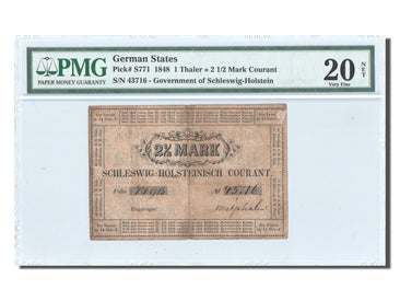 Banknote, German States, 1 Thaler = 2 1/2 Mark Courant, 1848, 1848-07-31