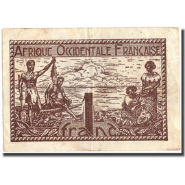 Banknote, French West Africa, 1 Franc, 1944, 1944, KM:34b, EF(40-45)