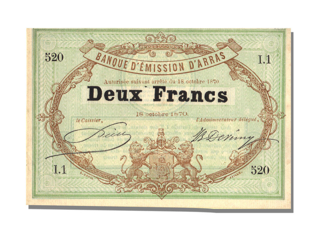 FRANCE, Arras, 2 Francs, 1870, 1870-10-18, UNC(65-70), I.1, Jérémie #62.02.A