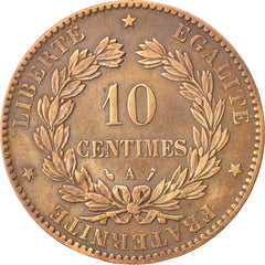 FRANCE, Cérès, 10 Centimes, 1888, Paris A, KM #815.1, EF(40-45), Bronze