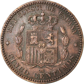 Coin, Spain, Alfonso XII, 5 Centimos, 1879, Madrid, VF(30-35), Bronze, KM:674